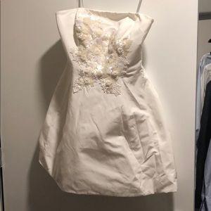 Marchesa Norte White Beaded Mini Dress